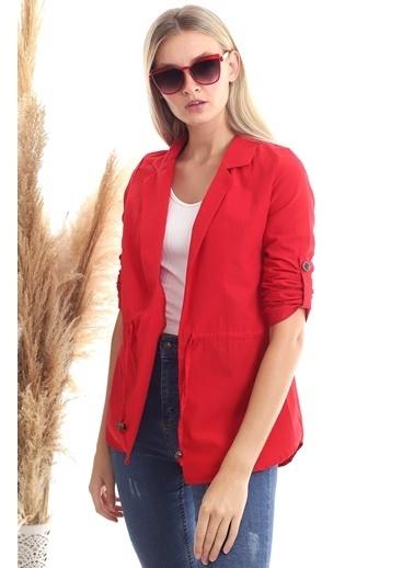 Cottonmood 20342379 Viskon Beli Bağcıklı Uzun Kol Ceket Tarçin Kırmızı